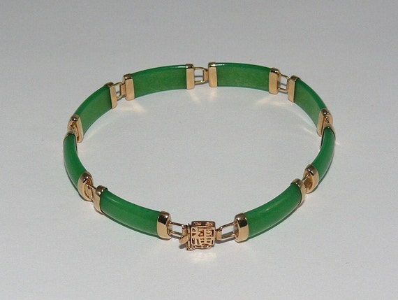 Green 7.0 mm x 19.1mm Jade Bracelet 18k Yellow Gold