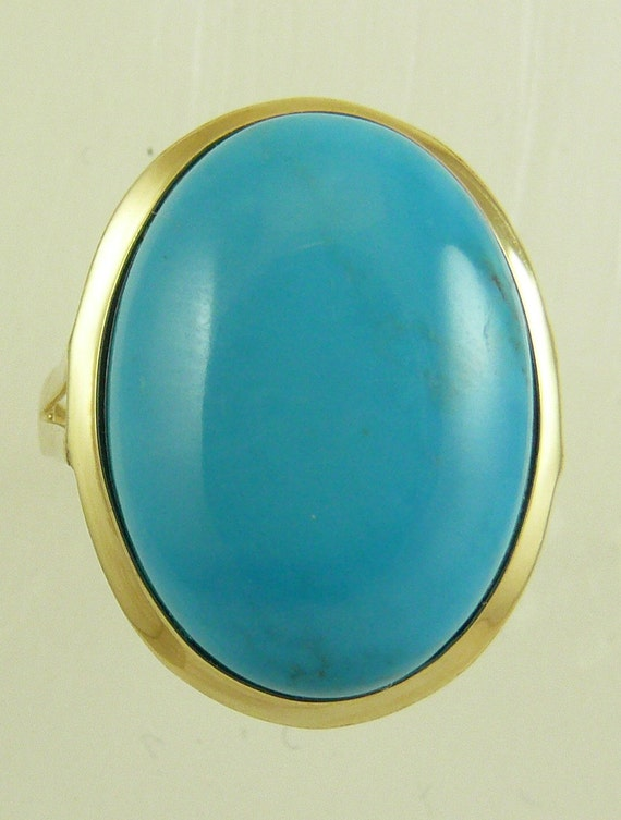 Reconstituted Blue 13 mm x 18 mm Turquoise Ring With 14k Yellow Gold, Size 7 1/4