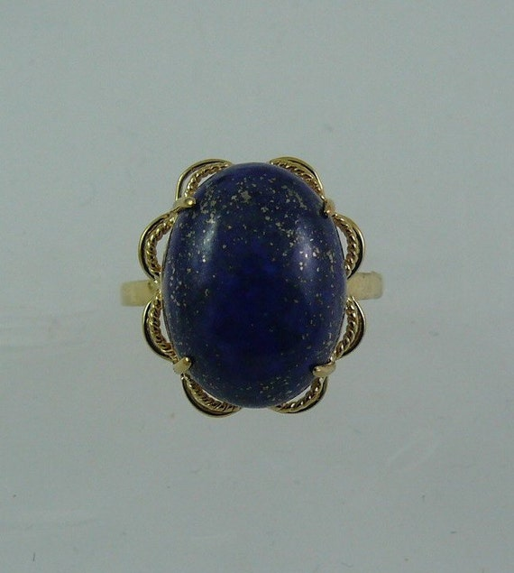 Lapis 12.0 mm x 16.0 mm Blue Ring 14k Yellow Gold