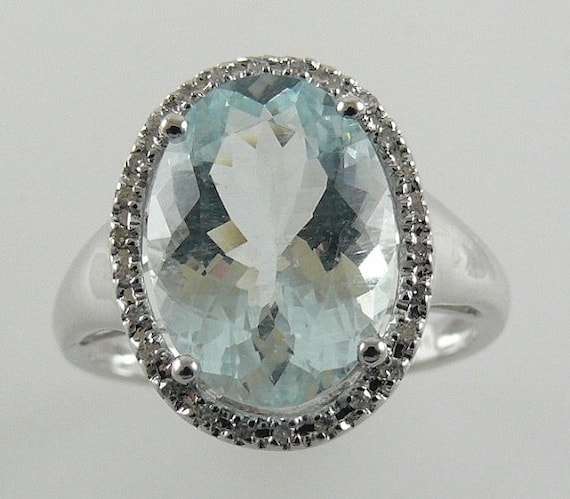 Aquamarine 5.43ct Ring 14K White Gold with Diamonds