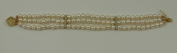 Freshwater Pearl Triple Strand Bracelet 14k Yellow Gold Clasp & Diamond Bars