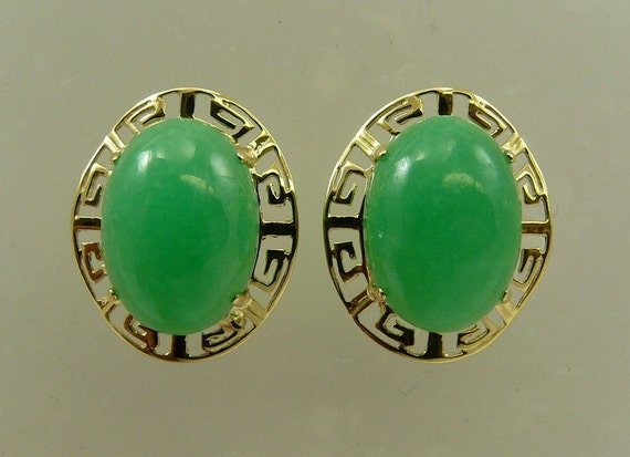 Green 16.0 x 11.8 mm Jade Earrings 14k Yellow Gold