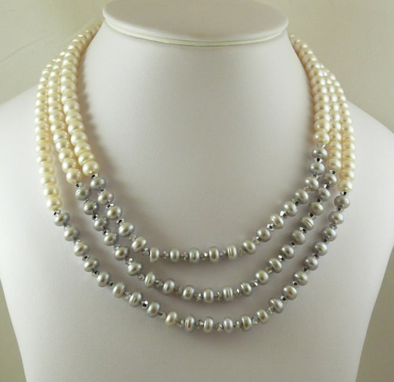 Freshwater Gray & White Pearl with Gray Austrian Crystal and Silver Clasp
