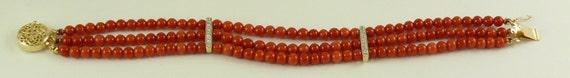 Italian 4.0 mm - 4.2 mm Coral Triple Strand Bracelet ,14K YG Clasp & Dias .07ct