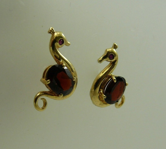 Garnet 2.7ct Earrings with Ruby 14k Yellow Gold