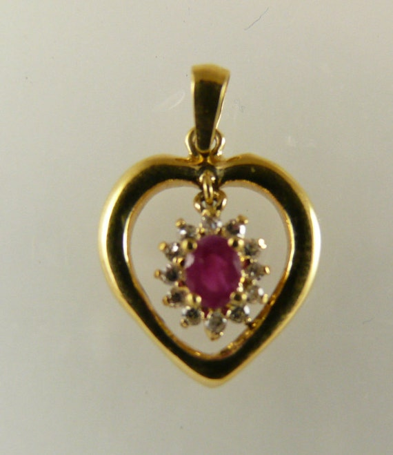 Ruby Heart Pendant 0.20ct 18k Yellow Gold with Diamonds 0.10ct