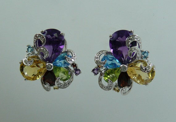 Multi-Color 9.82 ct Gemstone Earrings 14K White Gold and Diamonds 0.10ct