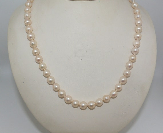 Japanese Akoya Baroque 7- 7.5 mm Pearl Necklace 14k Yellow Gold Clasp 48 Inches