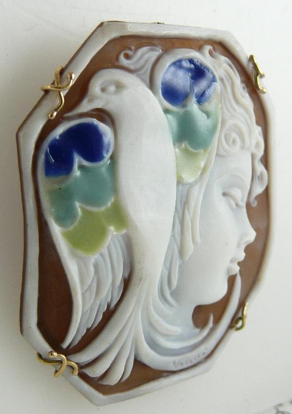 Cameo Sardonic Shell Lady with Bird Pin and Pendant