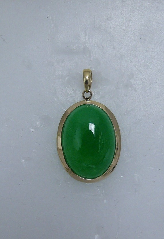 Green Jade 13mm x 18mm Pendant 14k Yellow Gold