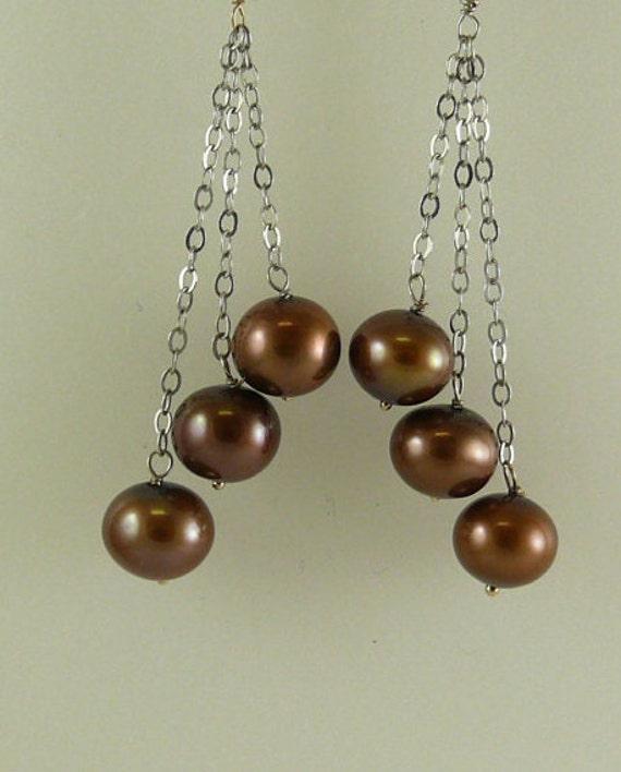 Freshwater Chocolate Triple Strand Pearl Earring 14k White Gold