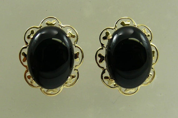 Black Onyx 12.1 x 16.1 mm Earring 14k Yellow Gold
