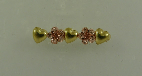 Flower and Heart Pin 14k Yellow Gold and Pink Gold