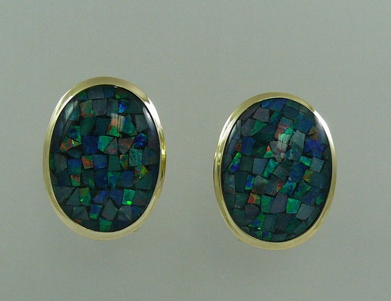 Mosaic 16.0 mm x 12.0 mm Opal Earring with 14k Yellow Gold Omega Backs