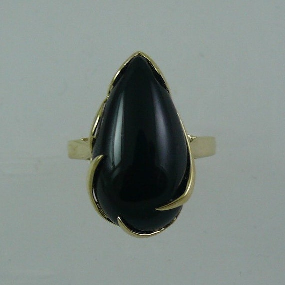 Black Onyx 11 x 20 mm Ring 14k Yellow Gold