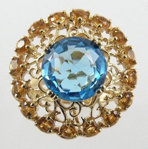 Blue Topaz 4.46ct & Citrine 0.96ct Ring 14k Yellow Gold
