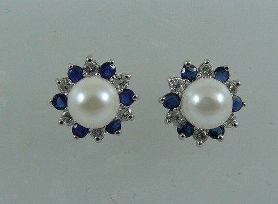 Akoya 5.7mm Pearl Earring & Sapphire 0.49ct and Diamond Jackets 14k White Gold