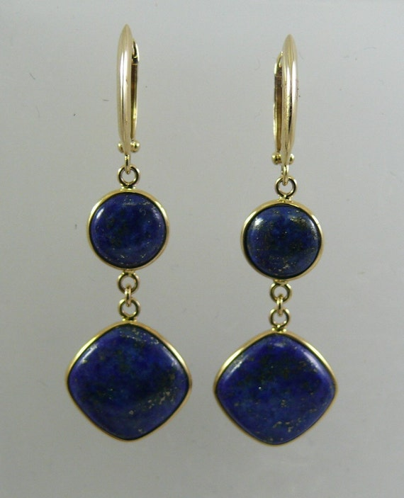 Lapis Dangle Earring 14k Yellow Gold