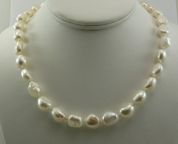 "Cultured Freshwater White Pearl Necklace 18"" 14k White Gold Fish Lock"