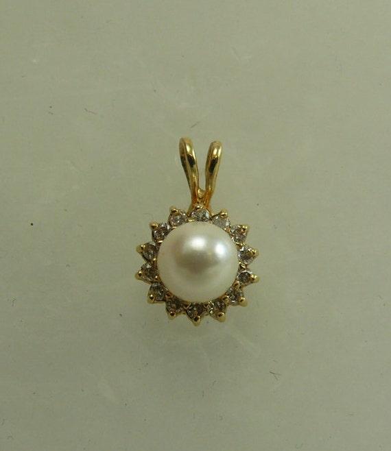 Akoya 6.2mm White Pearl Pendant 14k Yellow Gold and Diamonds 0.20ct