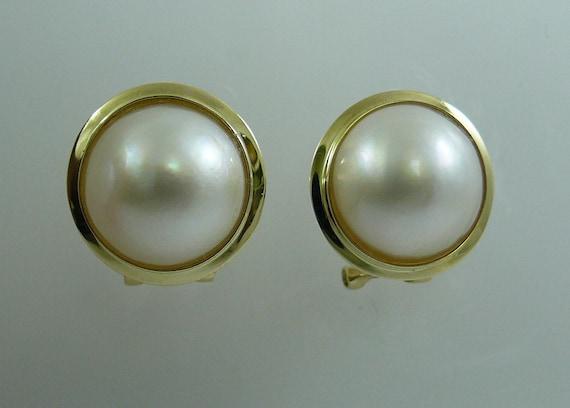 Mabe White 12.0 mm Pearl Earring 14k Yellow Gold Omega Backs