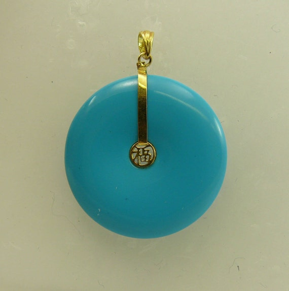 Reconstituted Turquoise 29.2 mm Pendant 14k Yellow Gold