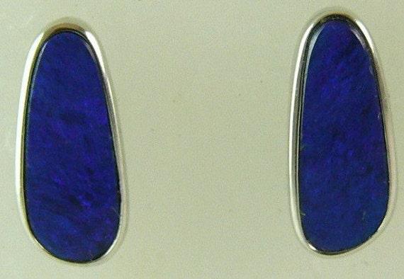 Opal Doublet Earring 2ct 14k White Gold