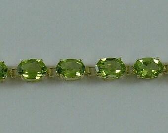 Peridot 12.5 ct Bracelet 14k Yellow Gold 6 3/4 Inches
