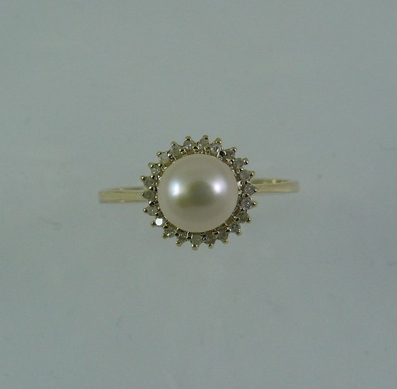 Freshwater White 6.5 mm Pearl Ring with Diamonds 14k Yellow Gold