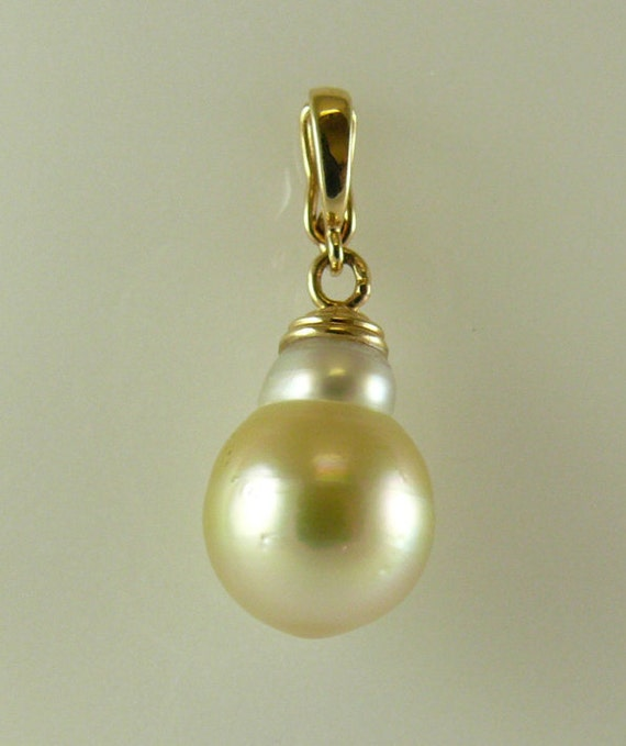South Sea Golden 12.2 mm x 16.3 mm Baroque Pearl Pendant 14k Yellow Gold