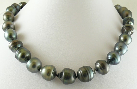 "Tahitian Black Baroque Pearl Necklace 15 mm x16.8 mm 18 1/4"" 14k White Gold Clasp"