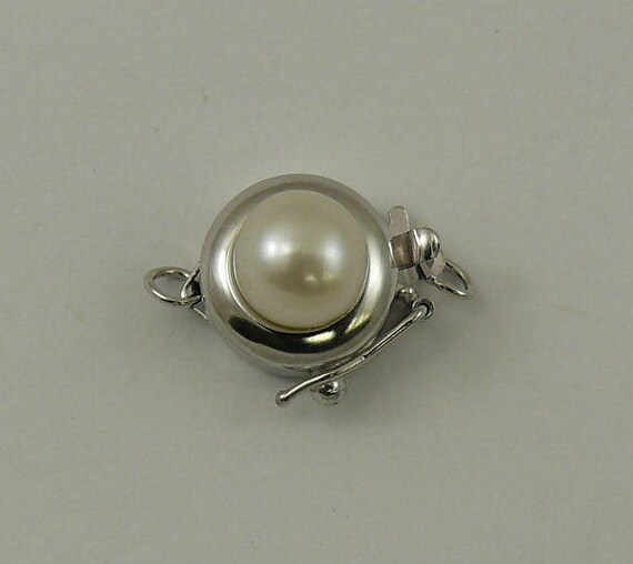 Freshwater White 6.6 mm Pearl Clasp 14k White Gold