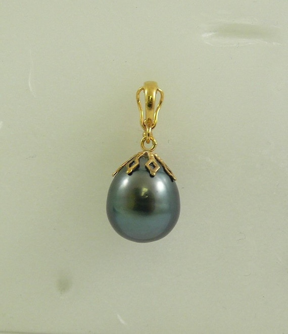 Tahitian 12.4 x 15.1 mm Pearl Pendant 14k Yellow Gold Enhancer