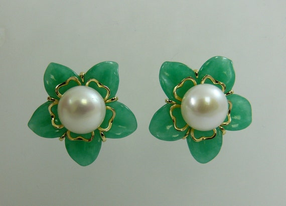 Green Jade and Freshwater Pearl Flower Earrings 14k Yellow Gold