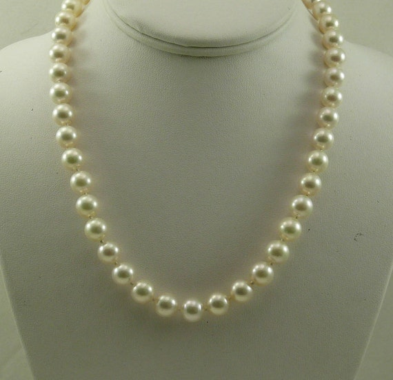 Japanese Akoya 9.0 - 9.3mm Pearl Necklace with 14k Yellow Gold Clasp