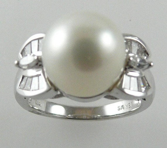 South Sea White 10.8mm Pearl Ring18K White Gold& Diamonds 0.40ct Size Selectable