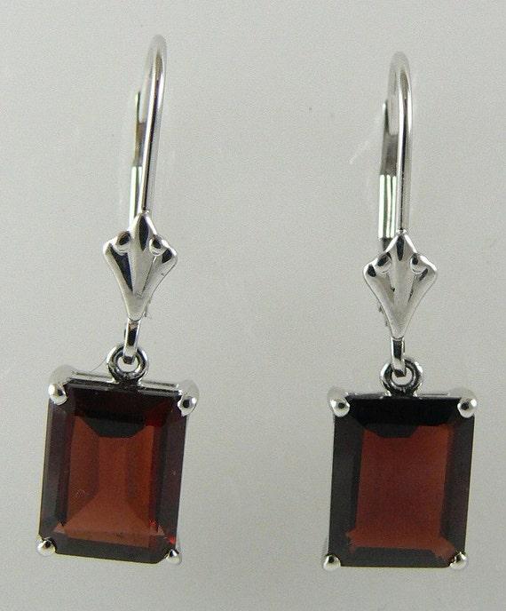 Garnet Earring 5.19ct 14k White Gold Lever Backs