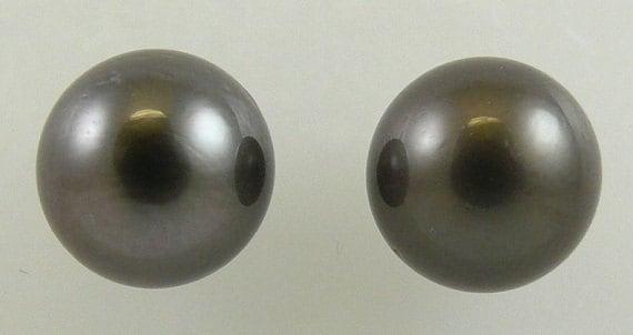 Tahitian Black 10.9 mm Pearl Stud Earring 14K White Gold