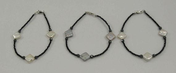Freshwater Multi-Color Pearl Spinel & Hematite Bracelet, Sterling Silver Clasp