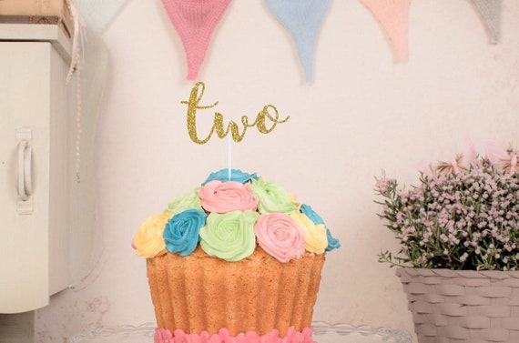 Peachy Two Cake Topper Second Birthday Cake Topper Floral Etsy Funny Birthday Cards Online Eattedamsfinfo
