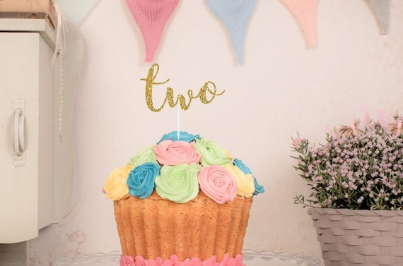 Two Cake TopperSecond Birthday TopperFloral