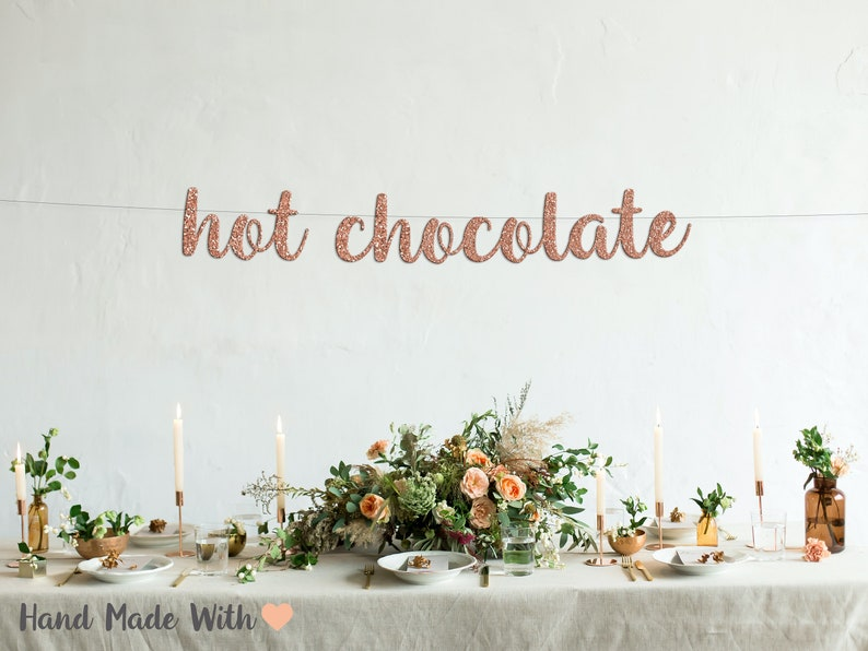 cursive banner gold glitter party decorations beverage table sign hot chocolate bar banner