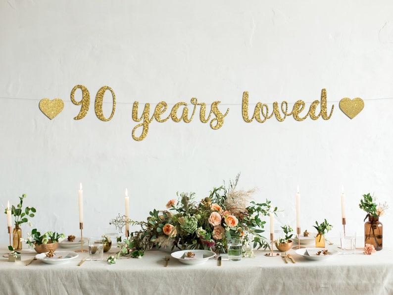 90th Birthday,90th Birthday banners Happy 90th Birthday 90 Years loved Cursive banner with hearts
