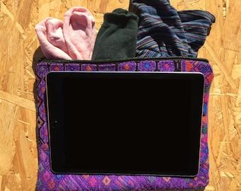 "Travel packing organiser - iPad Pro 9"" case -  Mexican folk art iPad Pro 12.9"" case handmade woven embroidered Mayan"