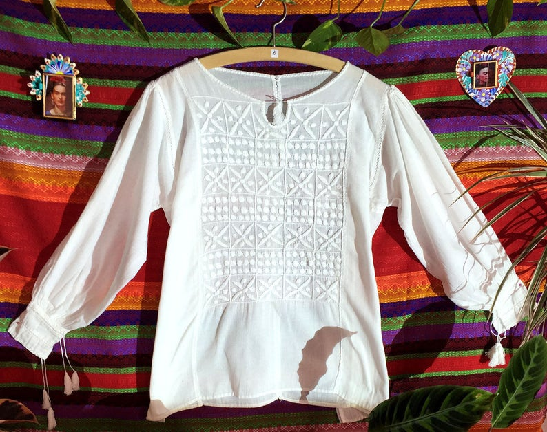 white cotton blouse spring blouse womens blouse Mexican Summer Blouse Mayan handcraft Mexican folk art hand embroidered blouse
