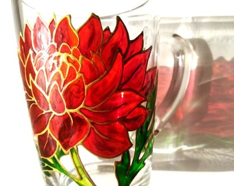 Dahlia Flower tea cup, Hand painted coffee cup, Custom Tea Cup, Dahlia Mug for Women, Personalised Gift