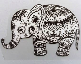 Elephant transfer 20 cm off-white and brown