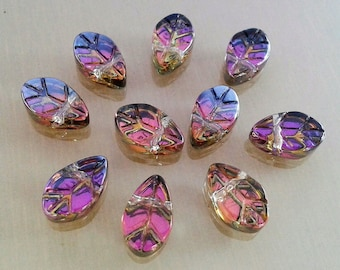 10 leaves beads 10 mm pink and gold glass