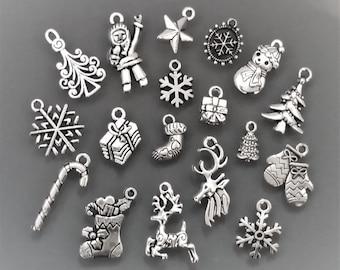 20 Tibetan Silver 20x15mm Noël Flocon de neige Breloques