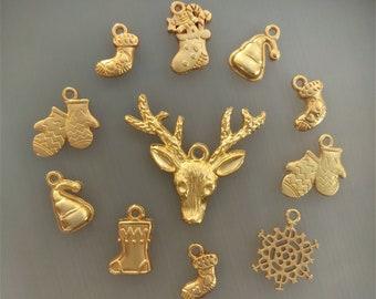 11 charms christmas golden color metal